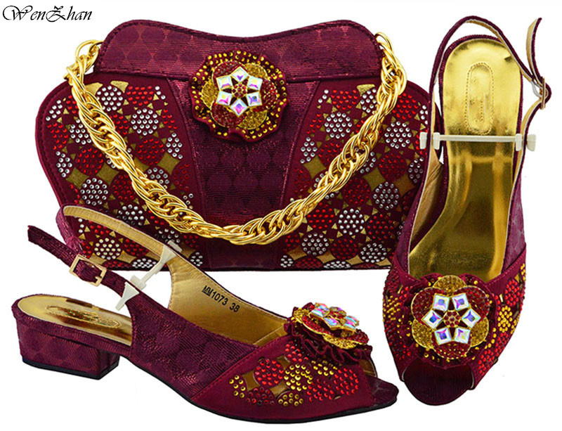 все цены на New Fashion Shoes and Bag Set for Party Wine Color Top Quality African Women Shoes and Bag Set Decorated With Appliques B88-18