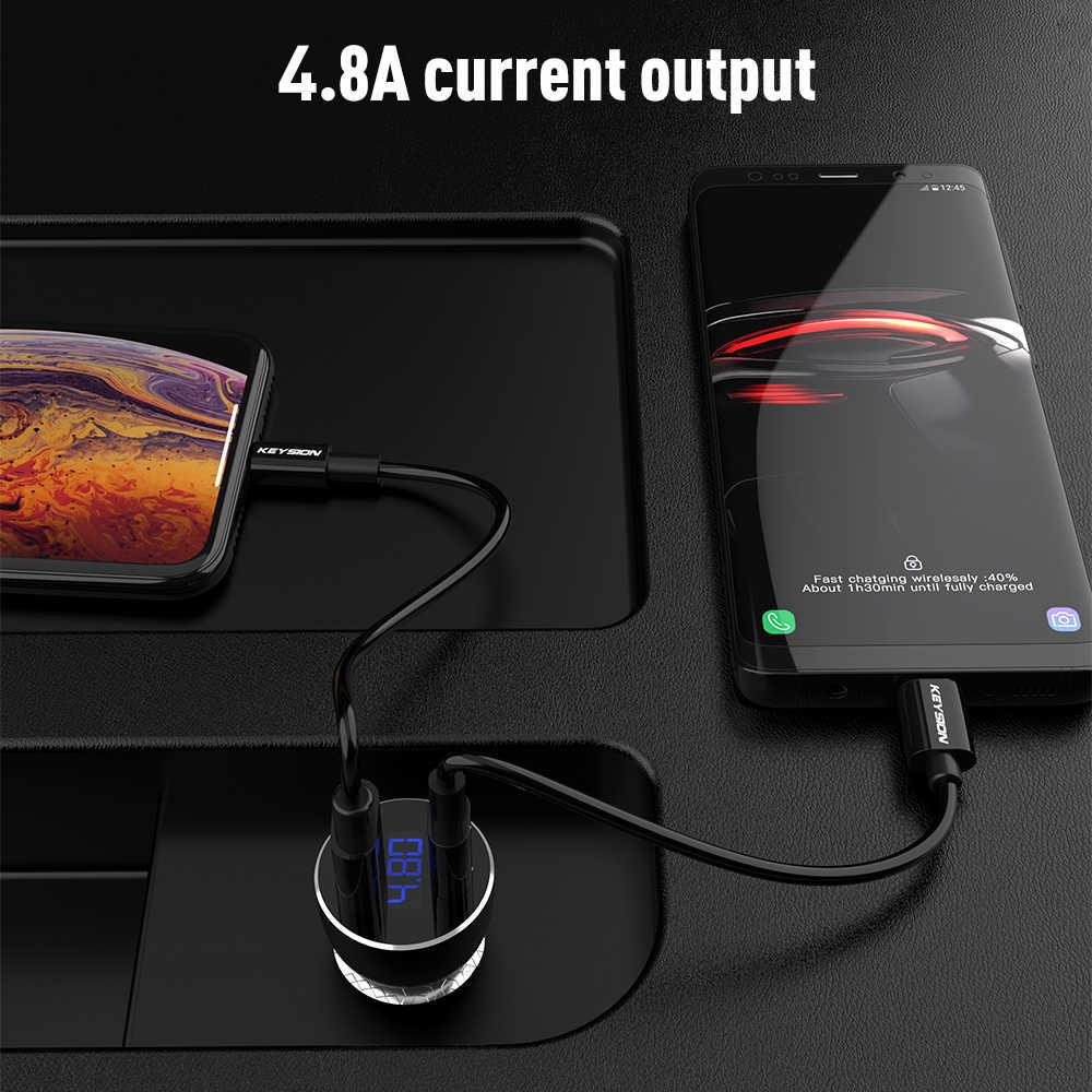 KEYSION المزدوج USB PD سريع سيارة شاحن آيفون XS ماكس XR X 8 P QC 3.0 سريعة شاحن سامسونج Xiaomi مع LED شاشة ديجيتال