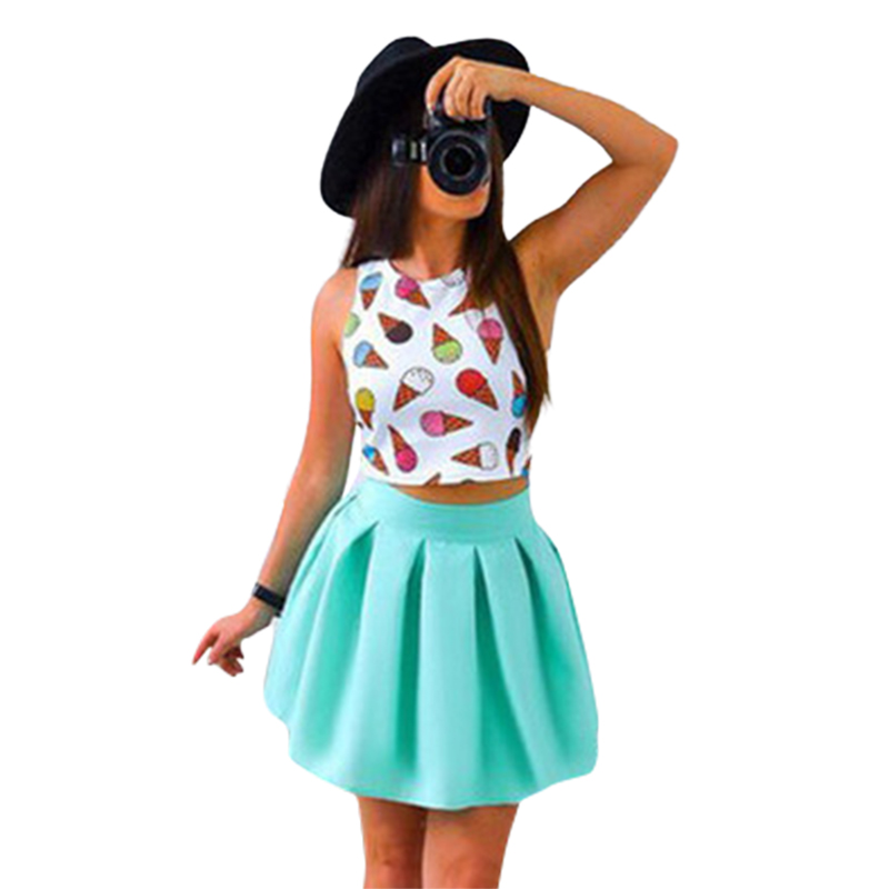 2 Pieces Women Set Tank Tops Shirt Skirt Print Ice Cream Ball Grown Skirt Casual Beach