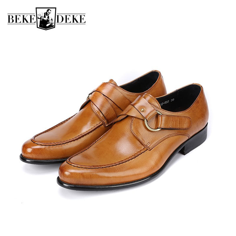 Italian Brand Mens Office Formal Shoes Buckle Genuine Leather Slip On Loafers Brown Black Oxfords Dress Zapatos Hombre Footwear 2017 new fashion italian designer formal mens dress shoes embossed leather luxury wedding shoes men loafers office for male