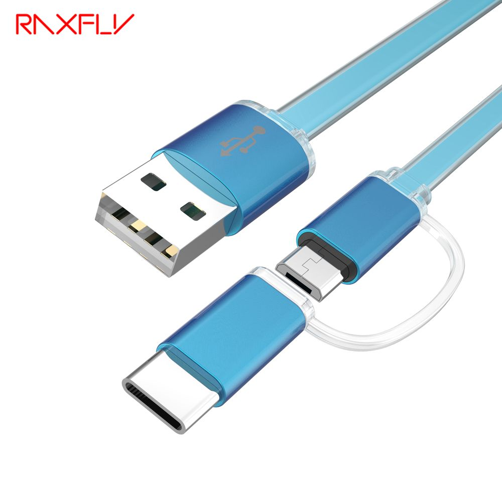 RAXFLY 2 in 1 Micro USB cable and USB Type C cable Sync Data 1M Type-C 3.0 USB Quick Charging For Samsung S7 E Xiaomi Mi5