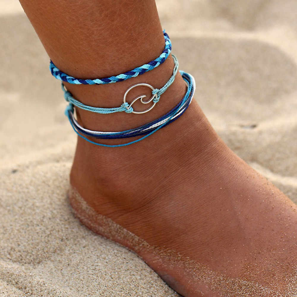 Ankle 3pcs Bohemia Silver Wave Anklets Bracelets for Women Rope Beach Anklet Jewelry Enkelbandjes Sieraden Modis #CE2