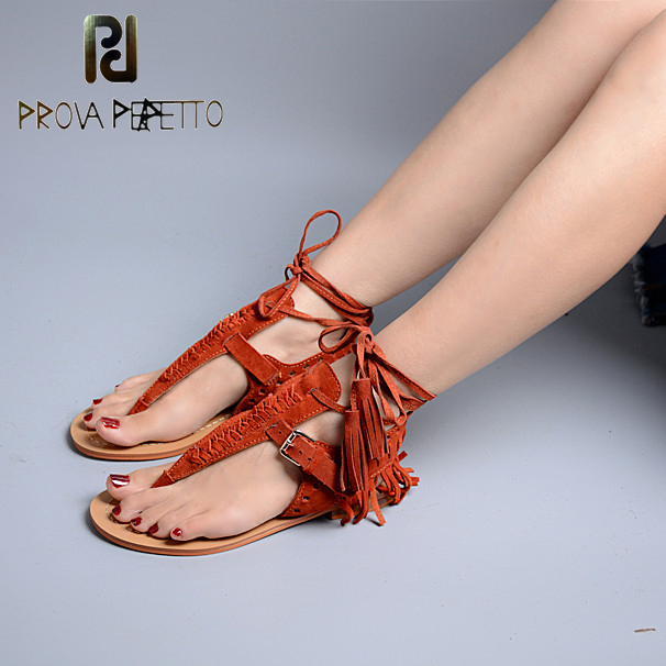Prova Perfetto Summer New Cross-Ties Tassel Flip Flop Sandals Casual Rome Shoes Buckle Open Toe Flat Heel Shoes Woman Sandals new 2017 summer flat sandals sexy pointed toe designer side buckle sandals woman shoes tide brand woman sandals hollow flats