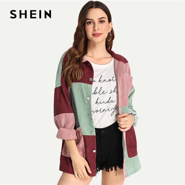 436c34d597 SHEIN Multicolor Elegant Modern Lady Cut and Sew Pocket Front Buttoned Coat  2018 Autumn Weekend Casual Women Coat And Outerwear