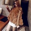 Alta Qualidade Mulheres Inverno Destacável Faux Fur Jaqueta de Manga Elegante Casaco de peles de Moda Mulheres de Slim Gola de Pele De Raposa Plus Size casaco