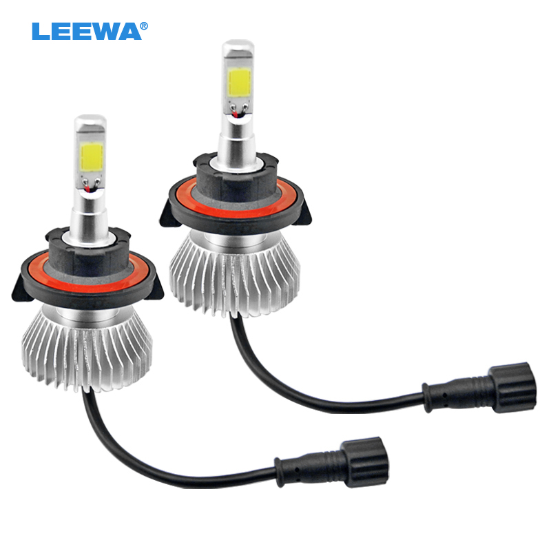 2pcs Super White H13 Hi/Lo 60W 6400LM Car COB LED Headlight Kit Fog Lamp Bulbs Light 6000k #CA3026