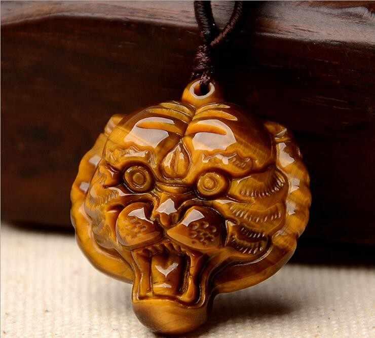 يدوية الطبيعية خرز عين النمر قلادة الذهب النمر رئيس المعلقات قلادة للنساء الرجال المعلقات مجوهرات الأزياء
