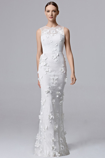 White Round Neck Sleeveless Applique White Plus Size Prom Dresses