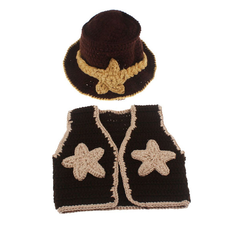 Baby Western Cowboy Hat Boots Vest Costume Outfit Newborn