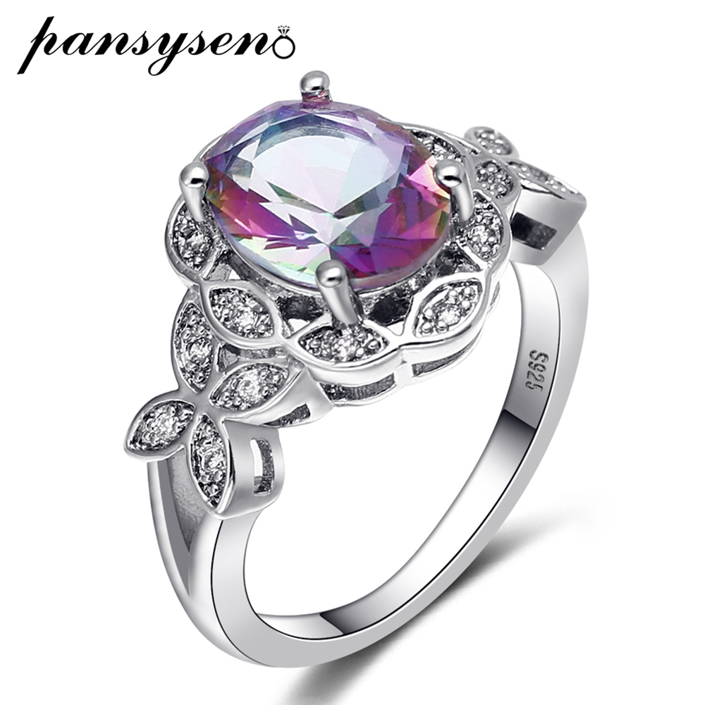 PANSYSEN Genuine Silver 925 Jewelry Gemstone Topaz Rings For Women Female Wedding Party Fine Jewelry Ring Wholesale Size 6-10