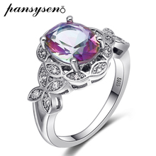 PANSYSEN Genuine Silver 925 Jewelry Gemstone Topaz Rings For Women Female Wedding Party Fine Ring Wholesale Size 6-10