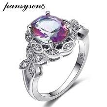 лучшая цена PANSYSEN Genuine Silver 925 Jewelry Gemstone Topaz Rings For Women Female Wedding Party Fine Jewelry Ring Wholesale Size 6-10