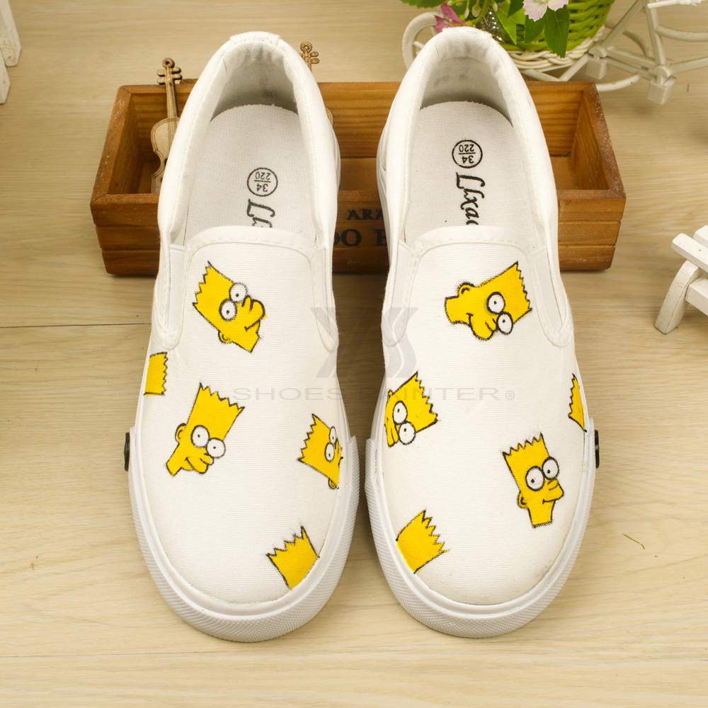 children slip on sneakers shoes canvas shoes panited