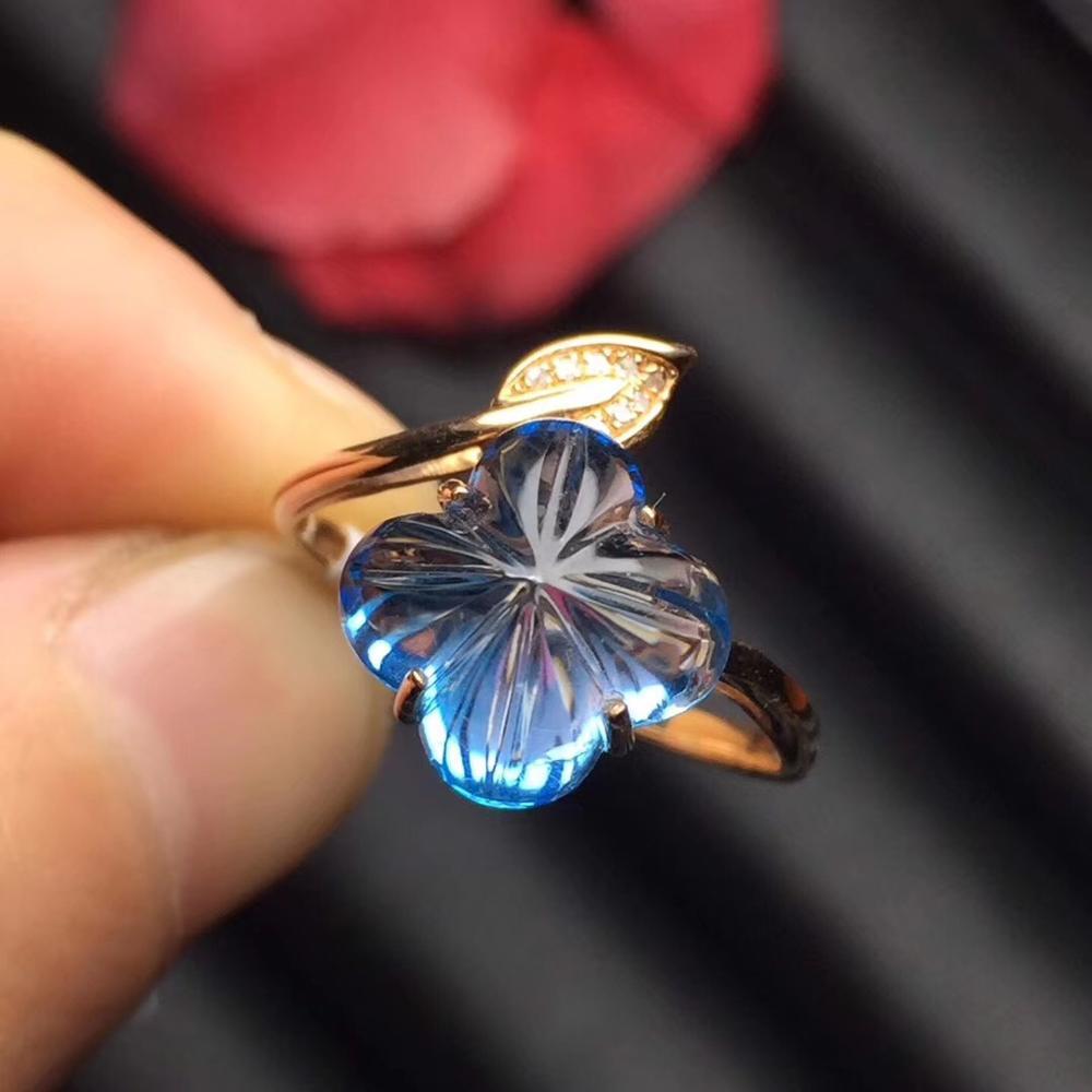 Bague topaze Fine bijoux véritable 18 K or Rose AU750 bijoux 100% topaze bleue naturelle pierres précieuses femmes anneaux pour femmes bague Fine