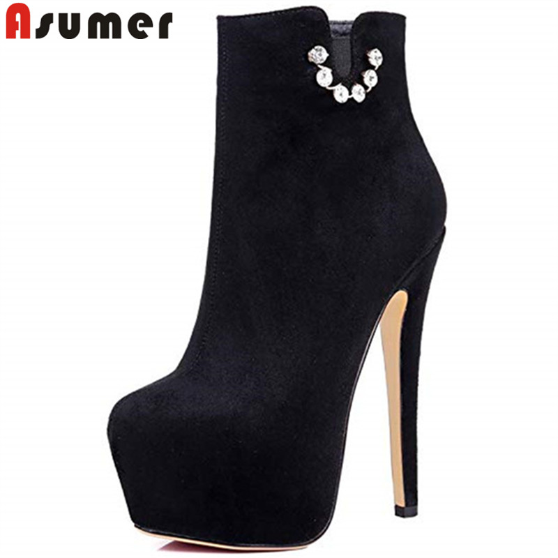 ASUMER Large size 35-45 fashion ankle boots for women round toe super high heels shoes woman platform prom autumn winter boots  ASUMER Large size 35-45 fashion ankle boots for women round toe super high heels shoes woman platform prom autumn winter boots
