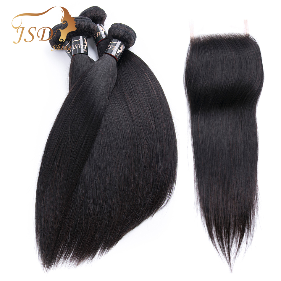 JSDShine Brazilian Hair Weave Bundles With Closure Straight Human Hair Bundles With Closure Non Remy Hair Extension Lace Closure(China)