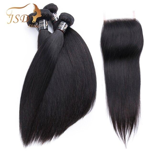 JSDShine paquetes de armadura de pelo brasileño con cierre de cabello humano recto paquetes con cierre no Remy de la extensión del pelo de cierre de encaje