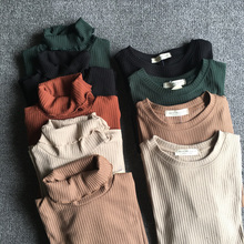 New Slim Woman Knitting T Shirts Long Sleeve O Neck Solid Skinny Casual Tee Tops Winter Turtleneck Thin