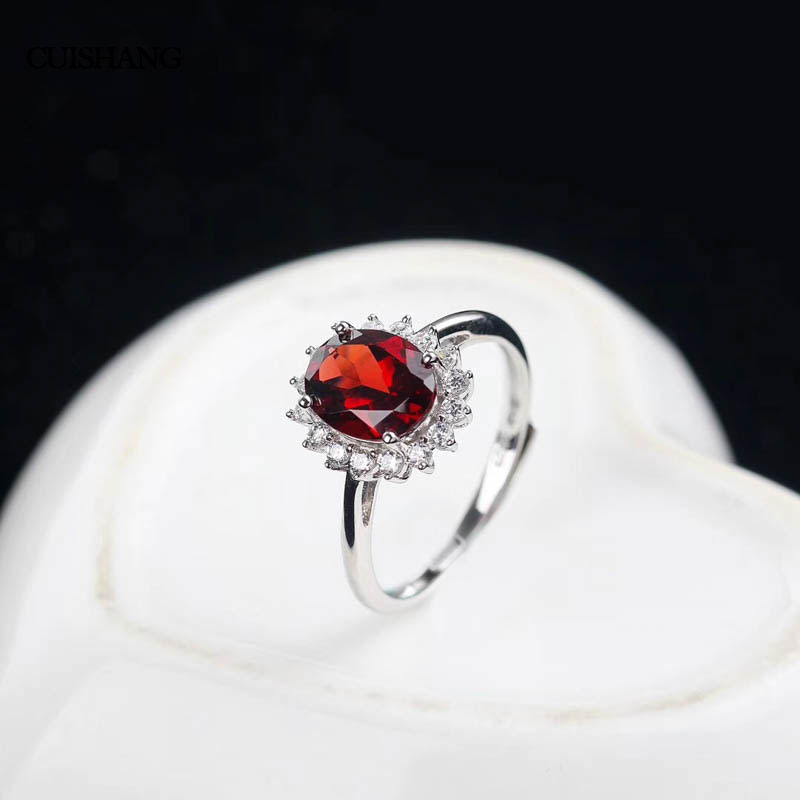 CSJ Natural Garnet Rings 925 Sterling Silver Engagement ring For Women Wedding Party Gift Fine Jewelry csj 100