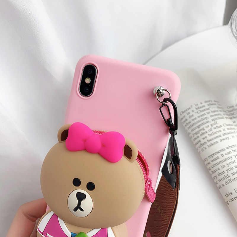 Cartoon portmonetka dla Huawei P9 P10 P20 Lite Plus Nova 3e 2 2s 3 3i Y9 2018 2019 4 honor 10 7A grać 7c P30 telefon skrzynki pokrywa