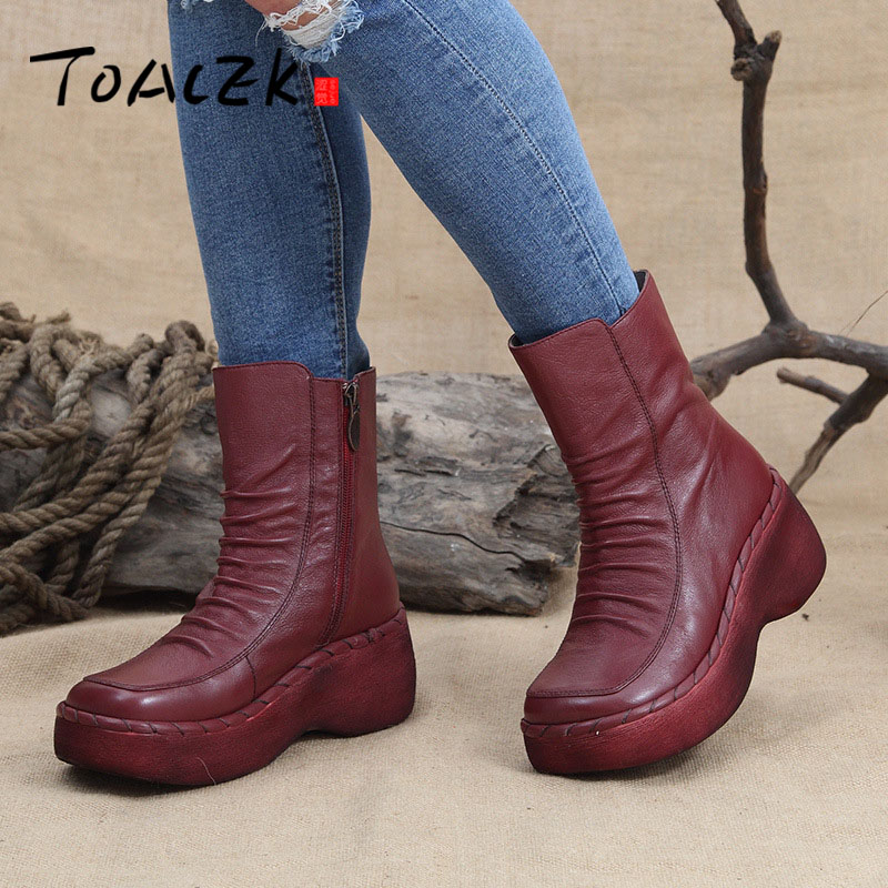 Plus Size Genuine Leather Women Boots Spring Autumn Fashion Pleated Ankle Boots Warm Soft Outdoor Casual Shoes draped pleated plus size tunic top