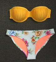 2018 103 1 Newest Color Handmade Crochet Bikini Bandeau Bow Halter Swimwear Women Floral Bottom Swimsuit