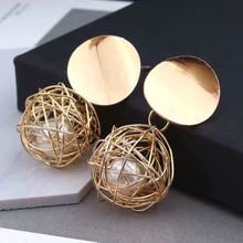 European and American Retro Geometric Earrings Simple Woven Ball Pearl Earrings retro style striped ball and geometric acrylic drop earrings