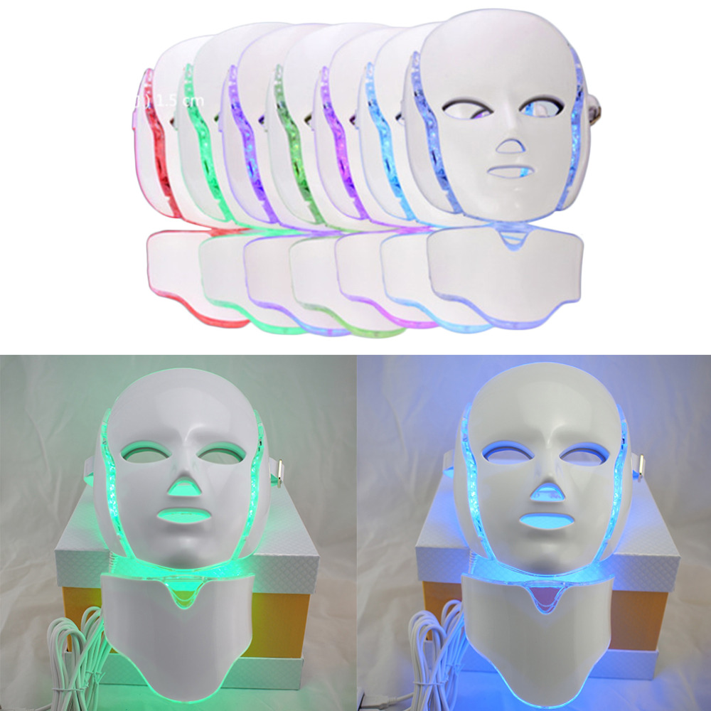 LED 7Colors Light Face Massage Microcurrent Facial Mask Machine Photon Therapy Skin Facial Neck Mask Whitening Electric Device 4 in 1 skin whitening tightening face lifting firming green blue red yellow electric led photon therapy facial beauty device