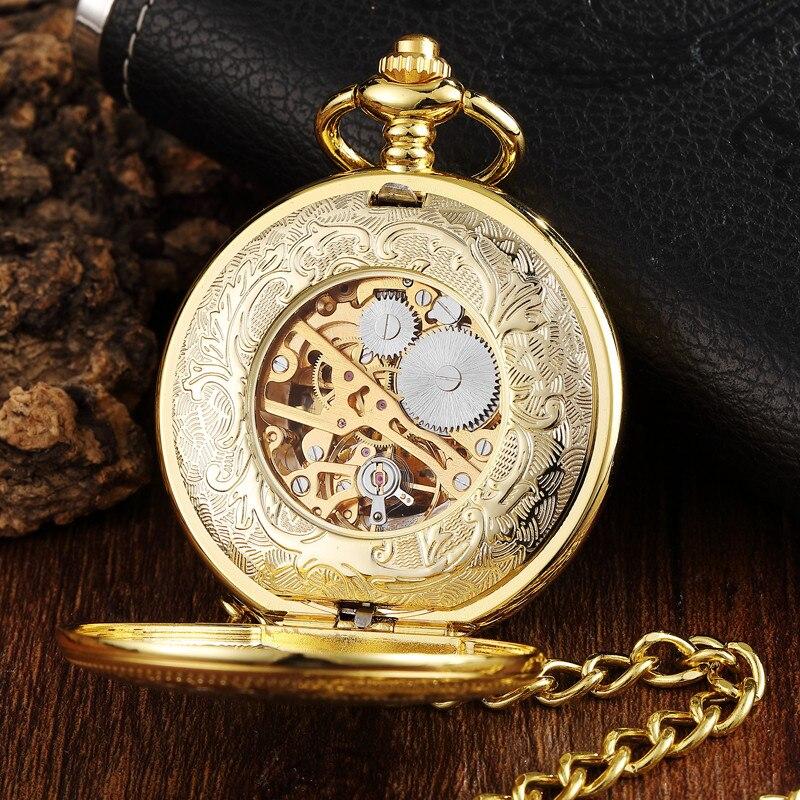 Ouro 2 lado relógio de bolso mecânico