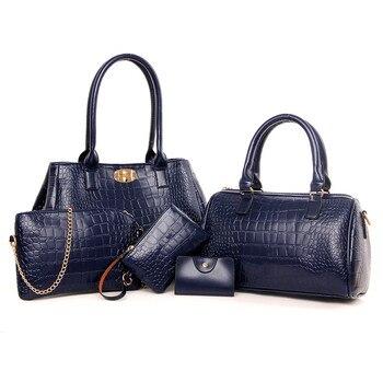 High Quality PU Leather Handbags Crocodile Pattern Ladies Shoulder Bag 2018 Fashion Women Composite Bag Female Messenger Bags