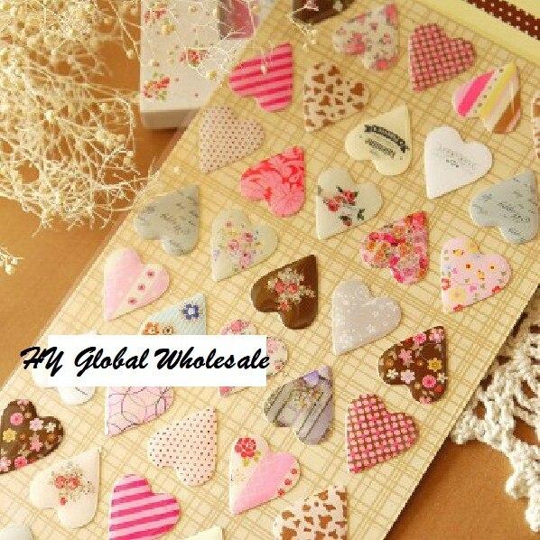 Купить с кэшбэком New novelty 3D heart style quality PVC sticker/DIY Multifunction label /mobile stickers /Scrapbooking School Office Stationery