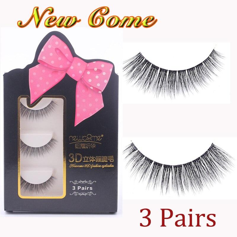3 Perechi 3D Mănuși de Mâini Groși Mănuși naturali Falsi Gene pentru Frumusețe Machiaj Fals Eye Lashes Extension-1