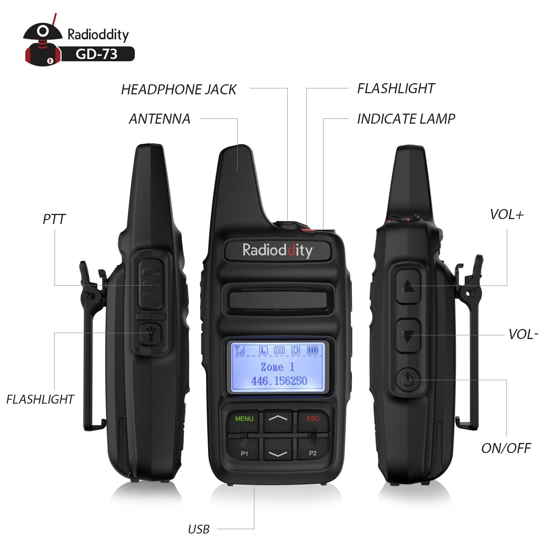 חלקי חילוף לקטנועים Radioddity GD-73 A / E מיני DMR UHF / PMR IP54 USB תוכנית & Charge 2600mAh SMS Hotspot השתמש 2W 0.5W מפתח בהתאמה אישית שני הדרך רדיו (3)