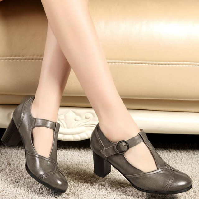 2019 spring summer new retro round head shallow mouth Genuine leather Female high heels Large size Women shoes Mary Jane shoes 8