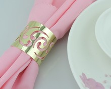 10pcs Western food hotel ring golden napkin buckle towel metal hollow mouth cloth