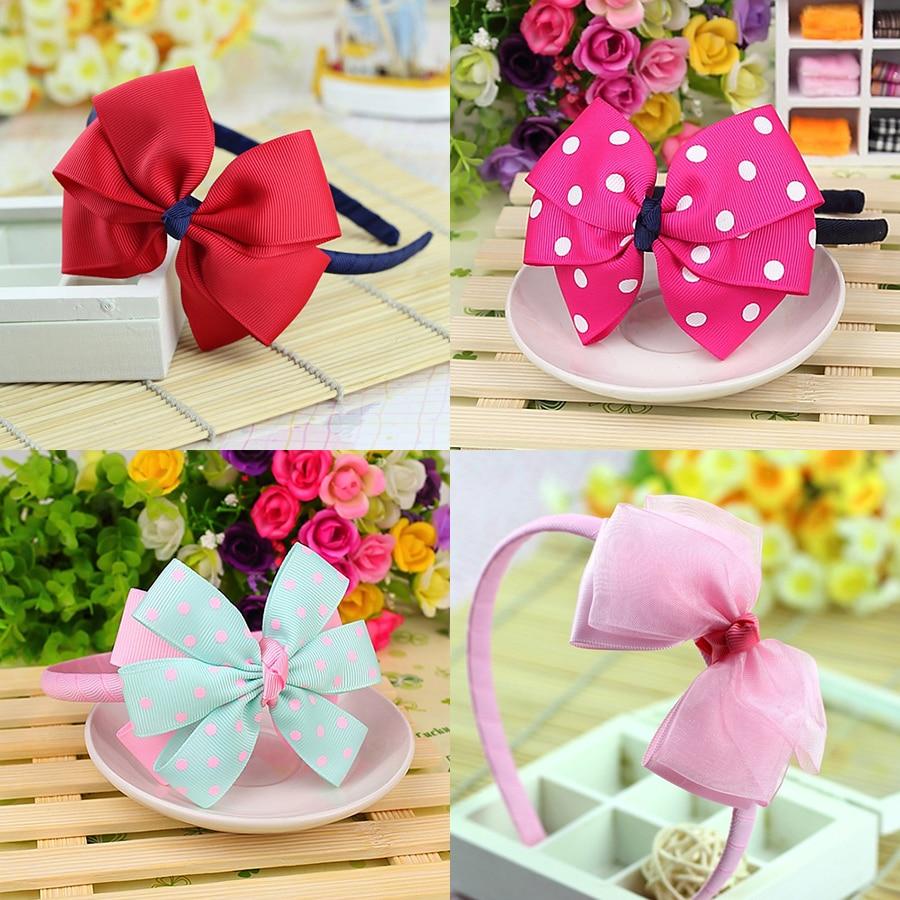 Cute Grosgrain Ribbon Bows Baby Toddler Hairbands Kids Headbands Children Hair Hoop Boutique Hair Accessories For Girls Headwear