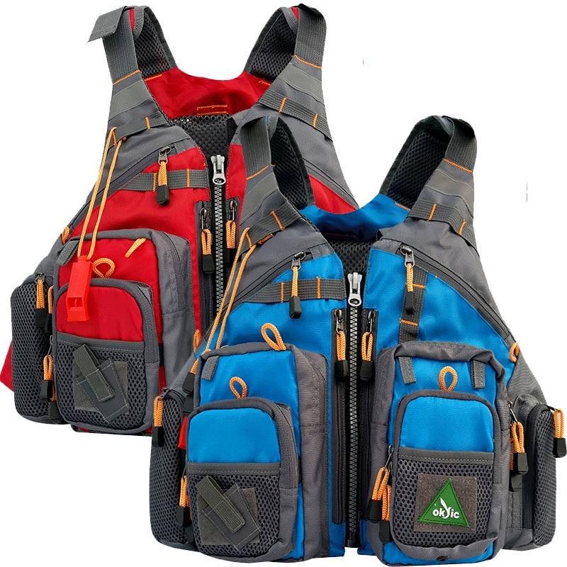 Men Blue Tool Vest Fishing Life Vest Swimming Life Jacket Safety Waistcoat Survival Utility Vest