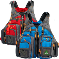 Men Blue Tool Vest Fishing Life Vest Swimming Life Jacket Safety Waistcoat Survival Utility Vest