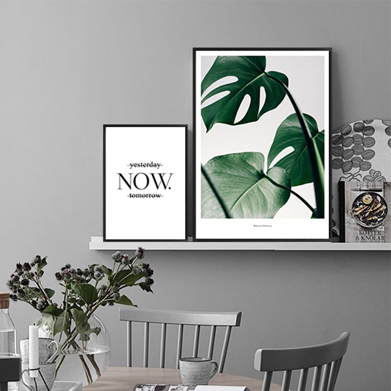 Nordic posters and prints green plant quote wall art pictures for living room home decoration nordic style canvas painting m0054 in painting calligraphy