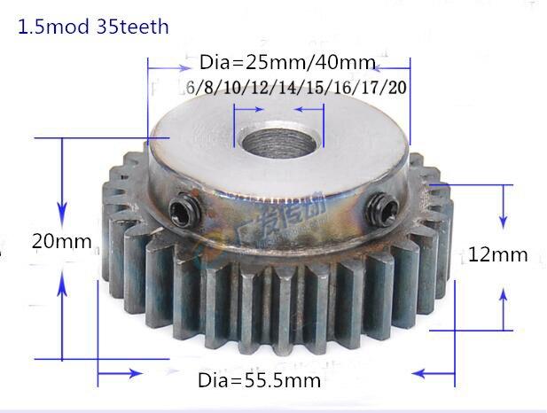 2 piezas Diente de enfriamiento engranaje piñón 1,5 m 35 t 1,5 mod, engranaje de 35 dientes de orificio 6- 20mm engranaje de precisión 45 acero cnc piñón