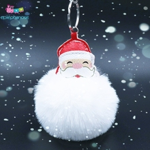Xmas Santa Claus Keychain Fluffy Ball Faux Bunny Fur Toys Pom Pom Car Keyring Pendant for Women Christmas Gift Stuffed Toy Kids 30cmx27cm new the pudding dog plush toys pom pom purin soft toys stuffed doll toy movice cartoon pom pom purin gift for children