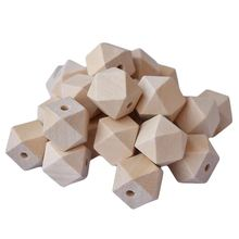 Бусины шестиугольные из натурального дерева для поделок 50 шт