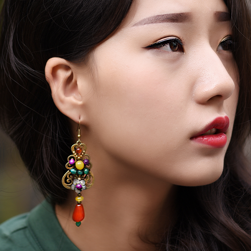 lange ethnische Ohrringe antik für Frauen Muschel Blume rot gelb - Modeschmuck - Foto 3