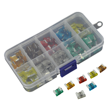 boruit 100pcs medium car fuses 5a 7 5a 10a 15a 20a 25a 30a motorcycle suv  boat truck zince blade fuse with plastic box