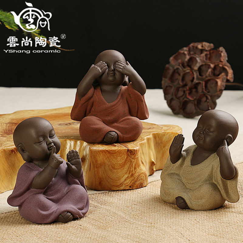 Little Monk Tea Pet Decoration Purple Sand Ceramic Tea Accessories Small Ornaments Home  ...