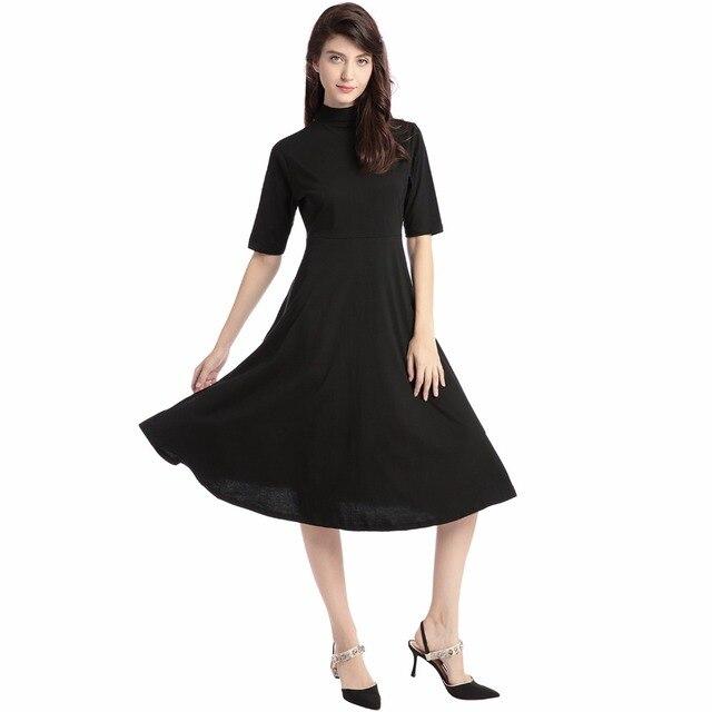 Новый хлопок водолазка на осень-зиму винтажное платье макси черное элегантное праздничное рождественское платье Танцы пикантные Повседневный стиль JK02