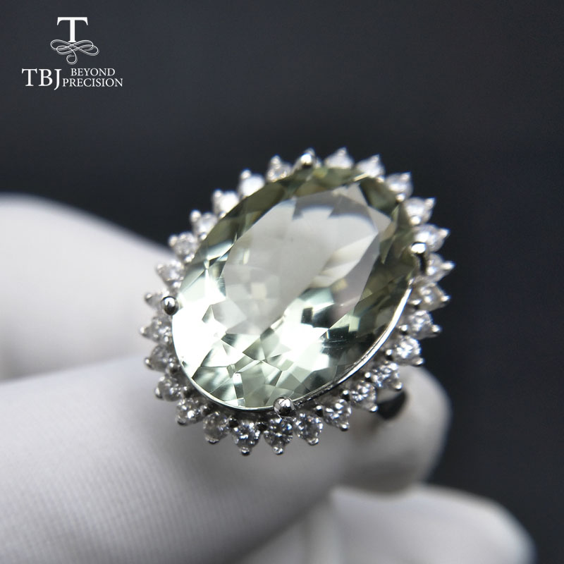TBJ Diana s ring Big 11ct green amethyst Ring gemstone ring in 925 sterling silver gemstone