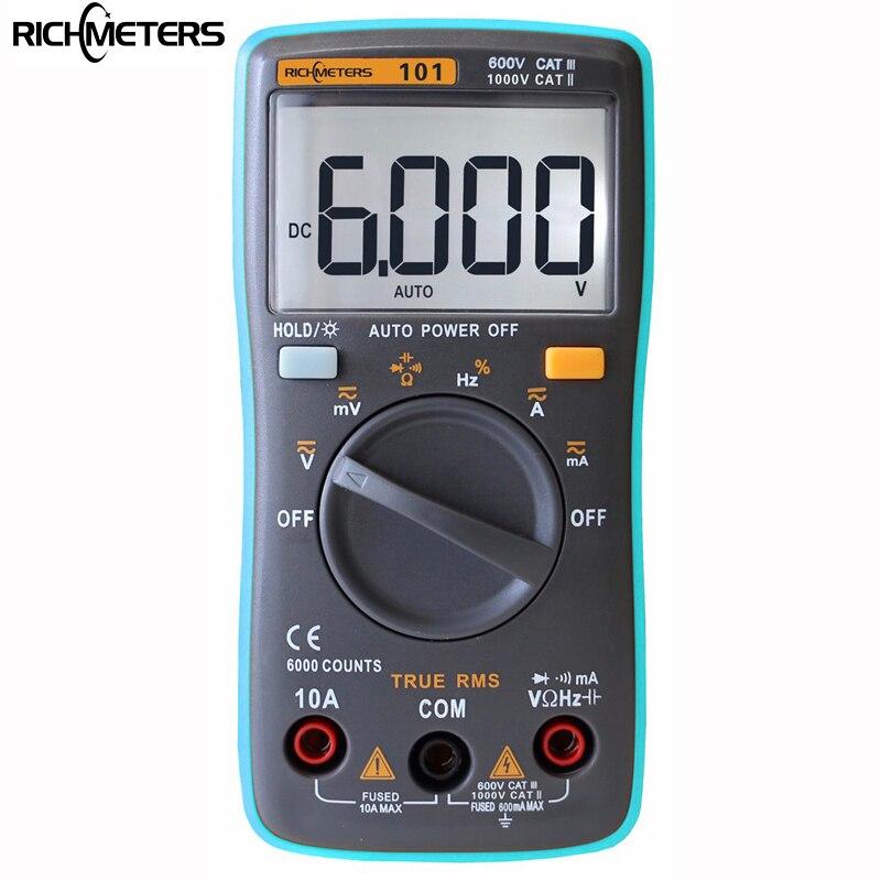 RM101 Multimètre Numérique 6000 points Rétro-Éclairage AC/DC Ampèremètre Voltmètre Ohm Portable Mètre mètre de tension RICHMETERS