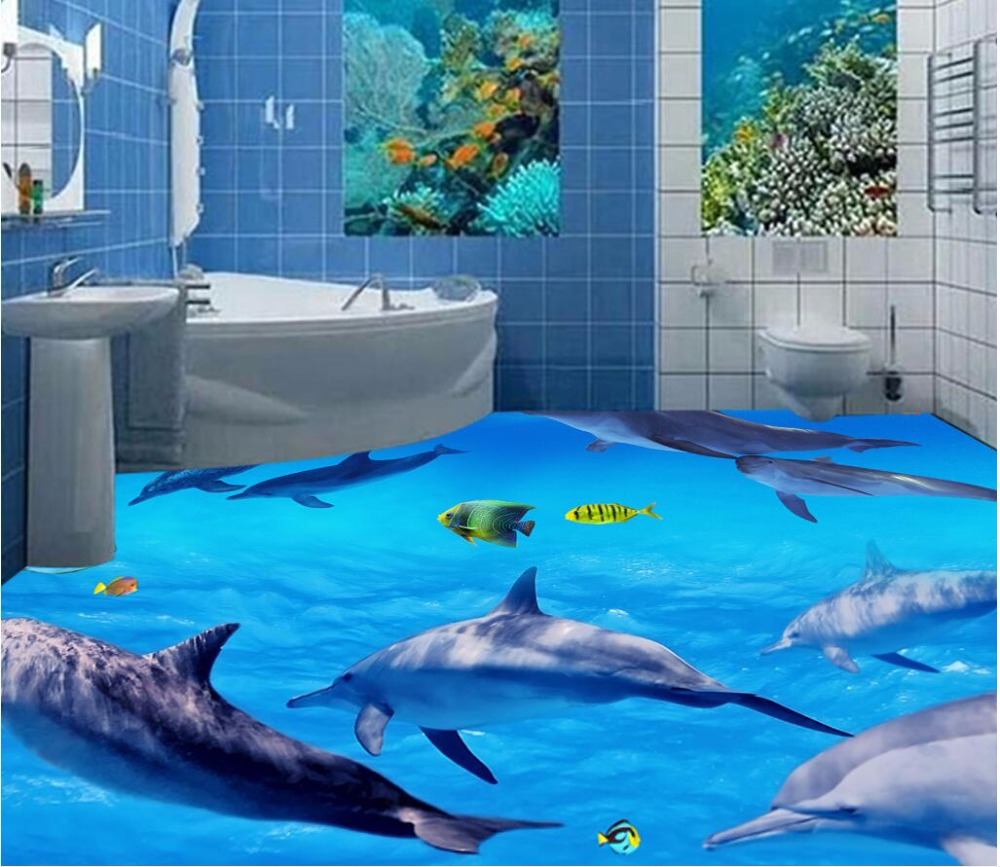Custom mural 3d flooring picture pvc self adhesive wall paper bedroom sea world dolphin decor painting 3d wall murals wallpaper brushed fabric wall hangings sea world dolphin tapestry