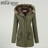 Meaneor Women S Winter Coat 2017 Casual Faux Fur Hooded Warm Drawstring Waist Slim Coat Fleece